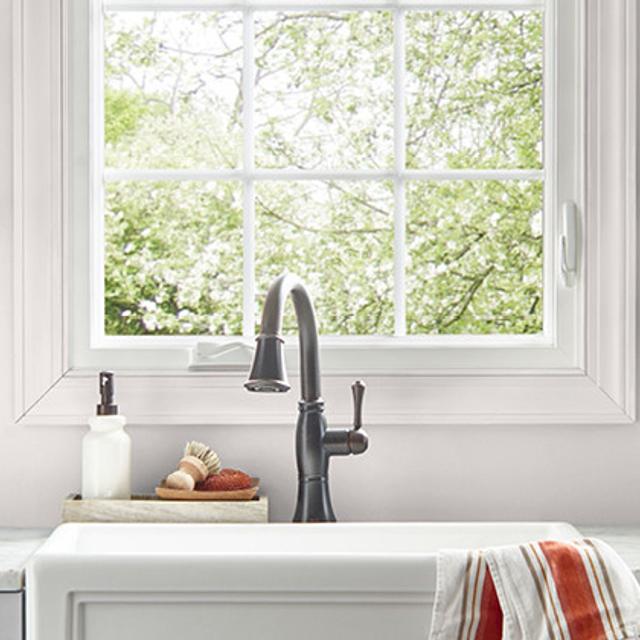 Kitchen painted in BLUSHING WHITE