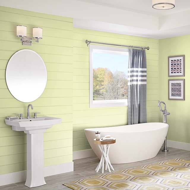 Bathroom painted in MINI GREEN