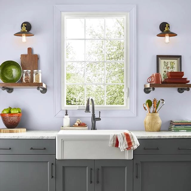 Kitchen painted in RAIN SHIMMER