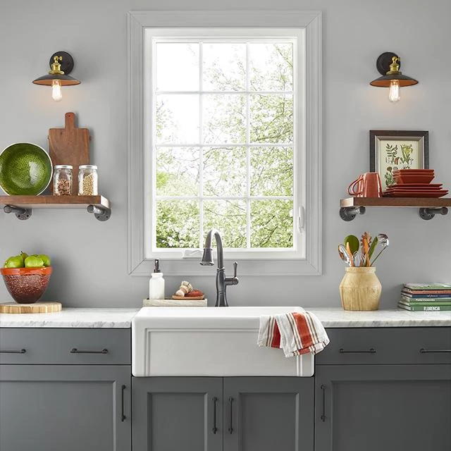 Kitchen painted in SOFT STEEL