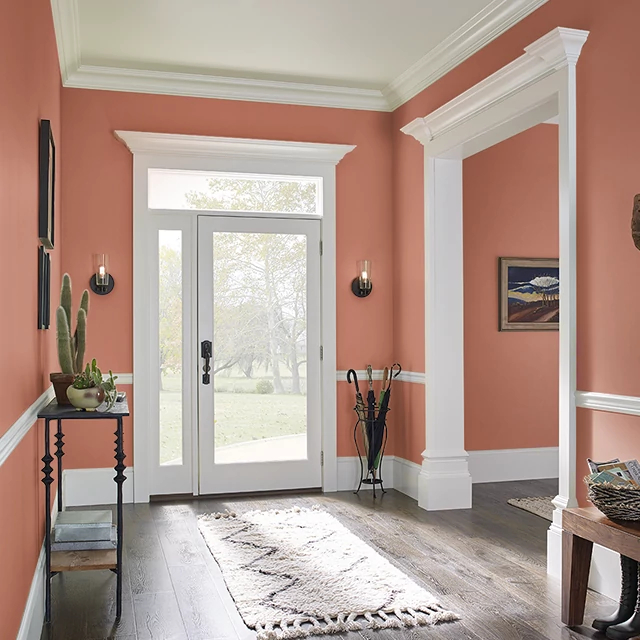 Foyer painted in LOBSTER TAIL