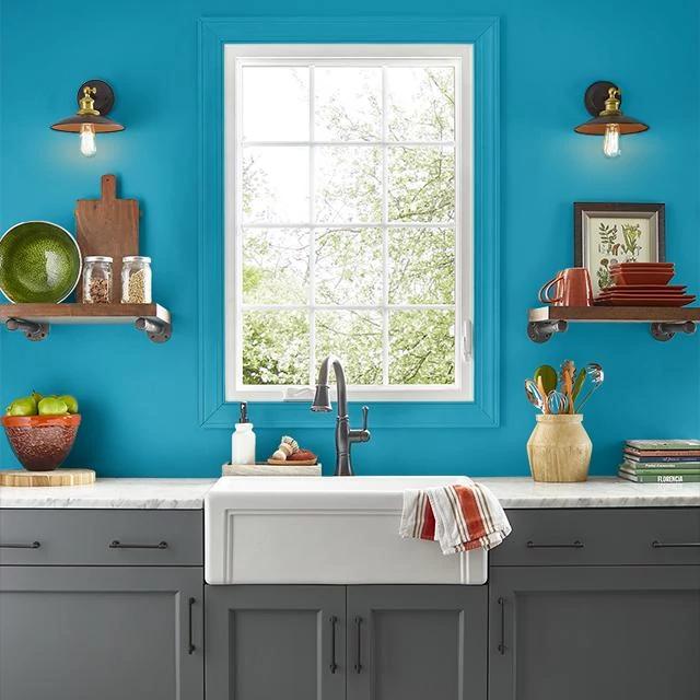 Kitchen painted in CENTURIAN BLUE