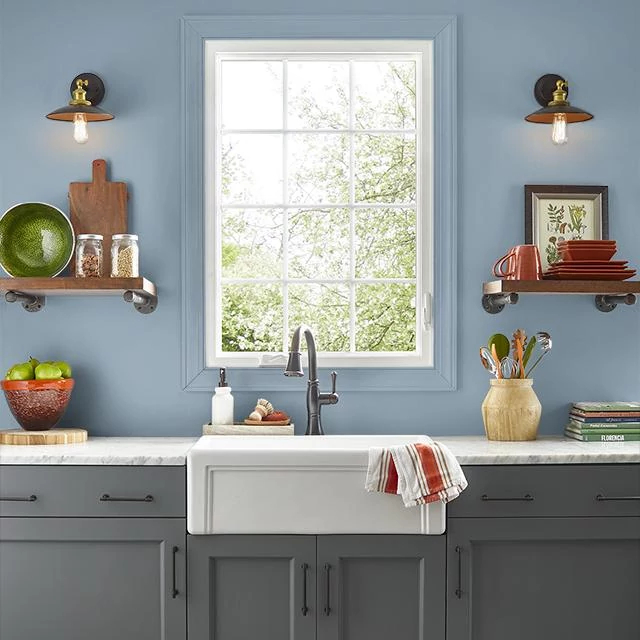 Kitchen painted in BACKWATER