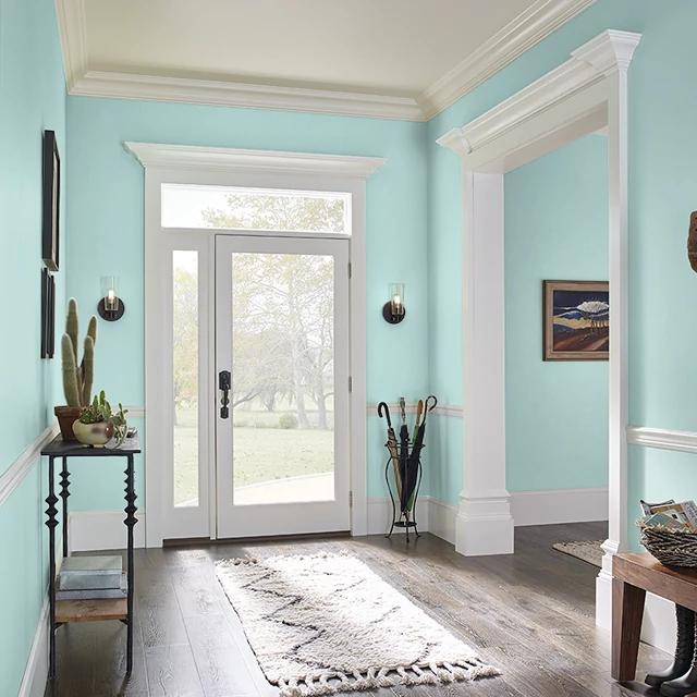 Foyer painted in VINTAGE AQUA