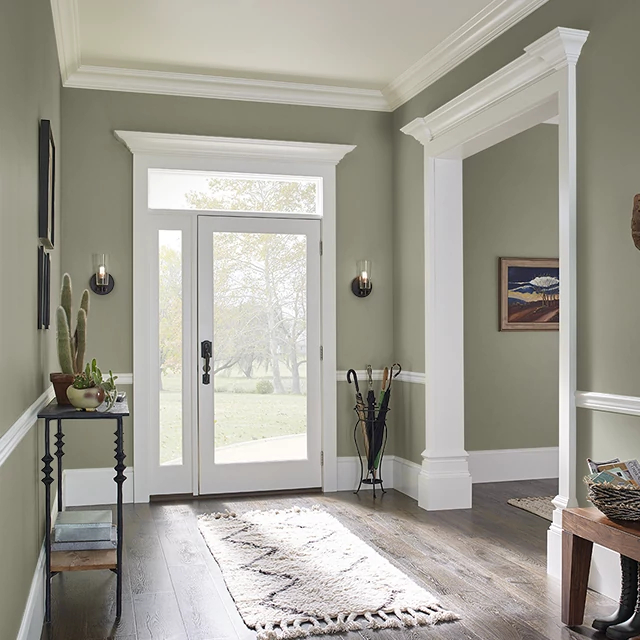 Foyer painted in COMBAT BOOTS