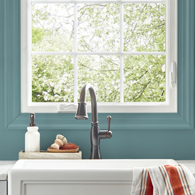 Kitchen painted in PALE EMERALD