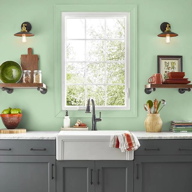 Kitchen painted in WILD LETTUCE