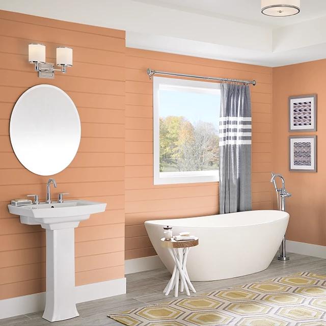 Bathroom painted in SPICED ORANGE