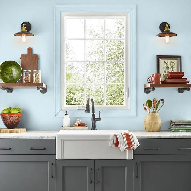 Kitchen painted in MISTY BLUE