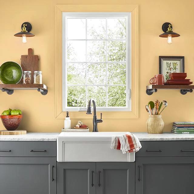 Kitchen painted in GOLDEN CORN