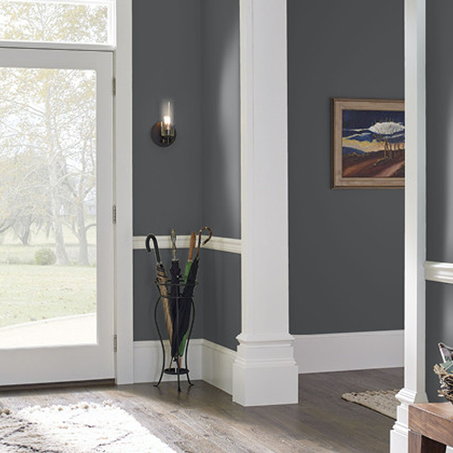 Foyer painted in MOTOR GRAY