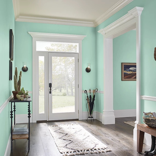 Foyer painted in GREEN SURF