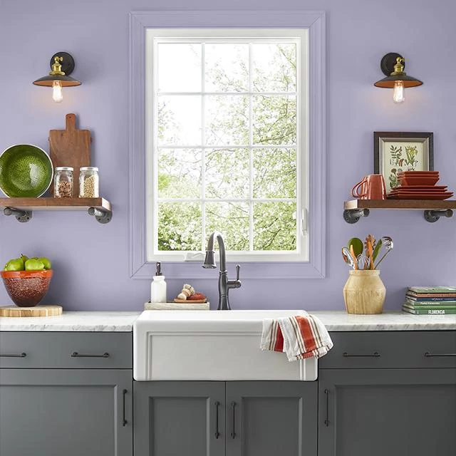Kitchen painted in FORTNIGHT LILY
