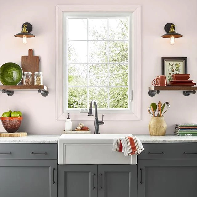 Kitchen painted in PEACH GLAMOUR