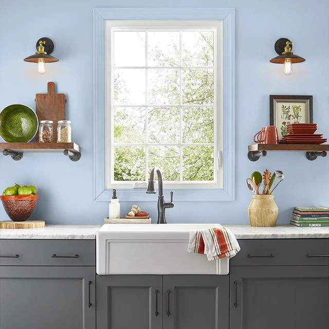 Kitchen painted in BLUES SCALE