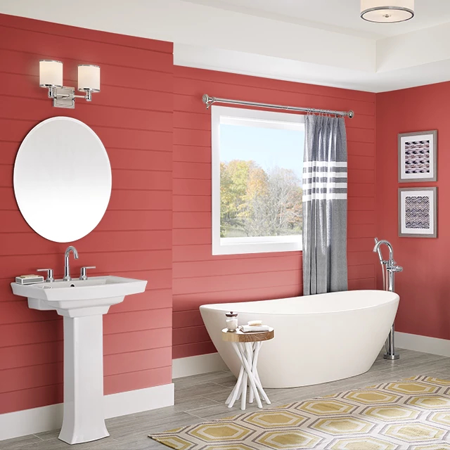 Bathroom painted in ATOMIC RED