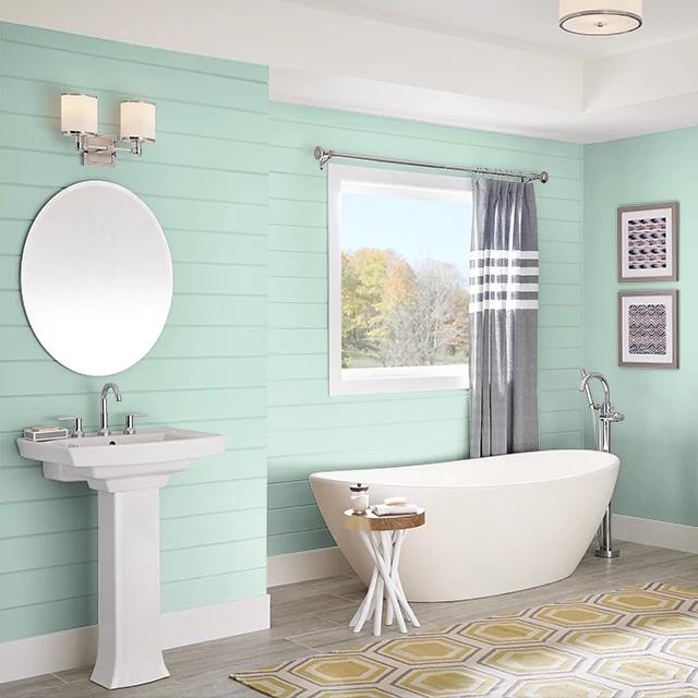Bathroom painted in JADE SEA