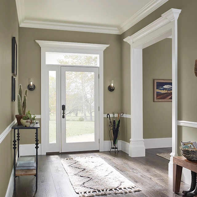Foyer painted in OLIVE WOOD