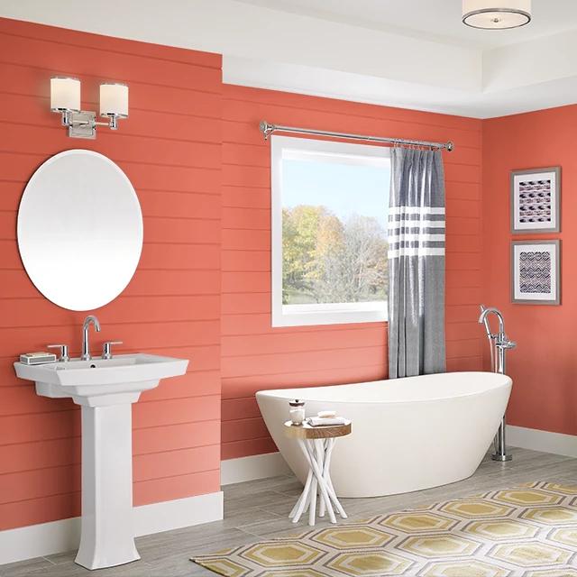 Bathroom painted in DYNAMITE