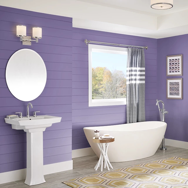 Bathroom painted in MYSTICAL PURPLE