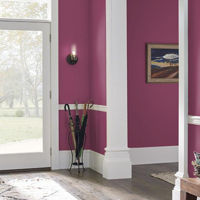 Foyer painted in CRIMSON VELVET