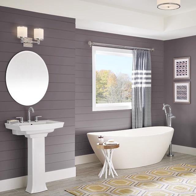 Bathroom painted in ROASTED BEET