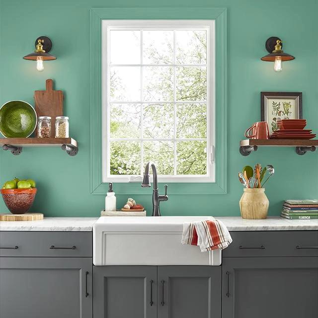 Kitchen painted in EMERALD STREAM