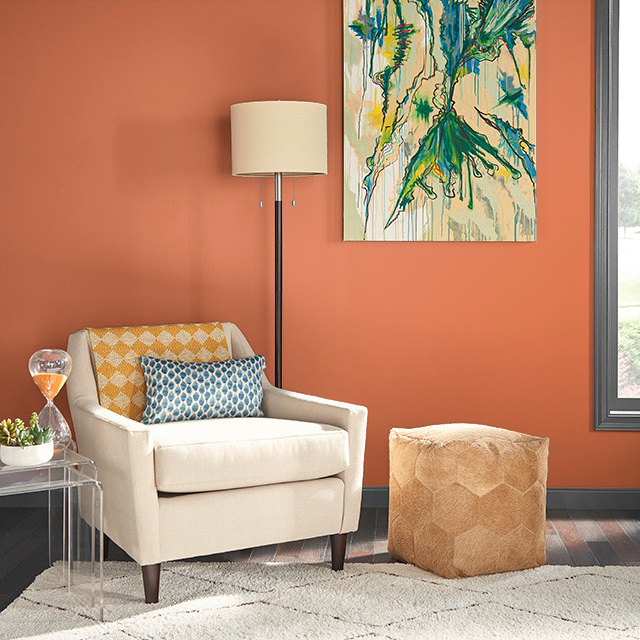 Living Room / Family Room painted in PERUVIAN ORANGE