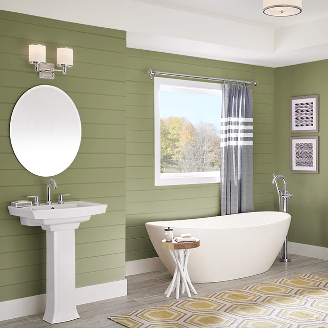 Bathroom painted in GROOVY GREEN