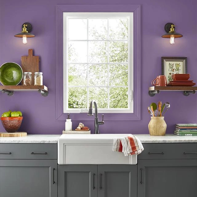 Kitchen painted in SUPER VIOLET