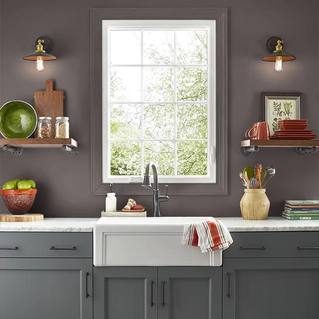 Kitchen painted in BLACK CHERRY