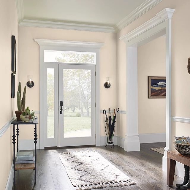 Foyer painted in SUGAR BEIGE