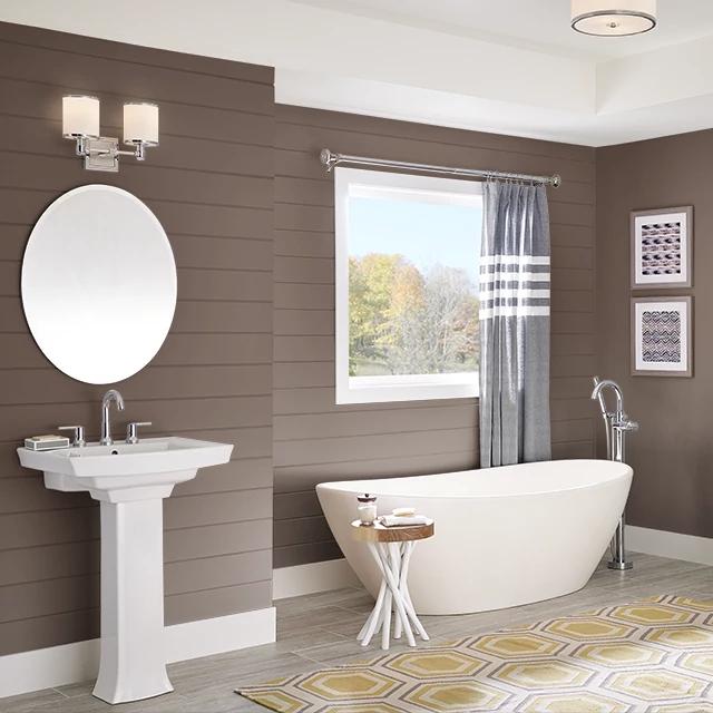 Bathroom painted in TONKA BEAN