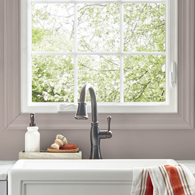 Kitchen painted in MEADOW MAUVE