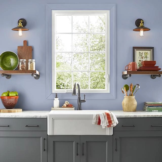 Kitchen painted in SEA LAVENDER
