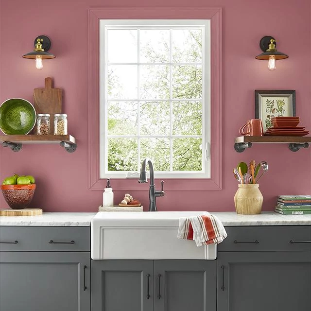 Kitchen painted in EARTHY RED