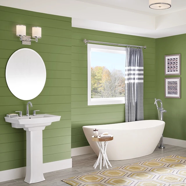 Bathroom painted in RECYCLE GREEN