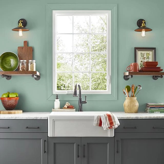 Kitchen painted in WINCHESTER GREEN