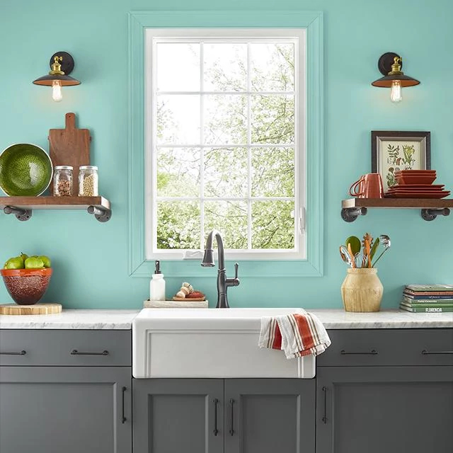 Kitchen painted in CELADON PLATE