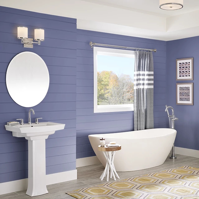 Bathroom painted in BLUEBERRY SAUCE