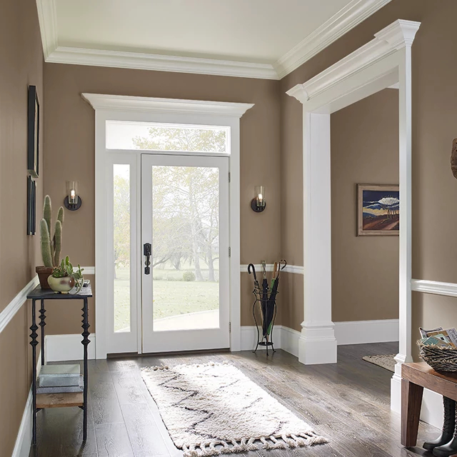 Foyer painted in LEATHER SADDLE
