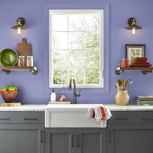 Kitchen painted in LAVENDER BLOSSOM