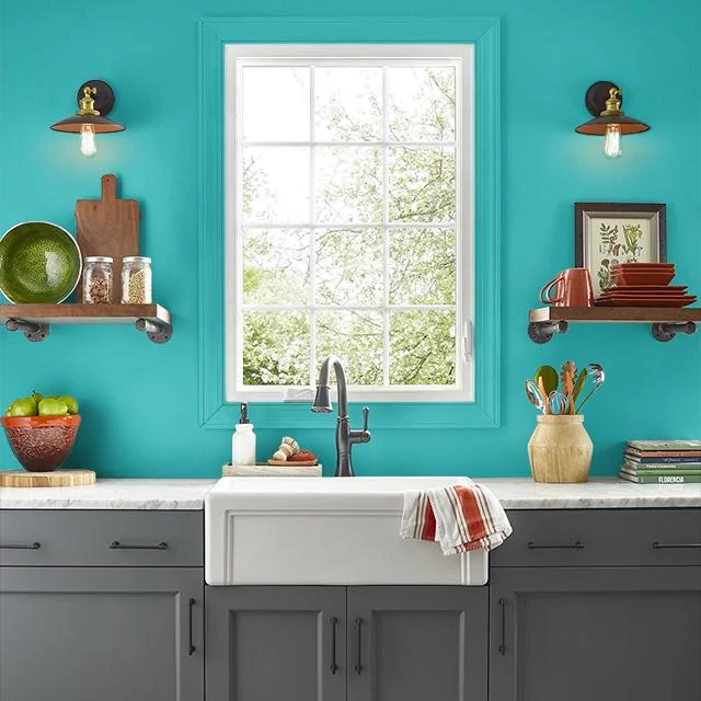 Kitchen painted in SEAWALL