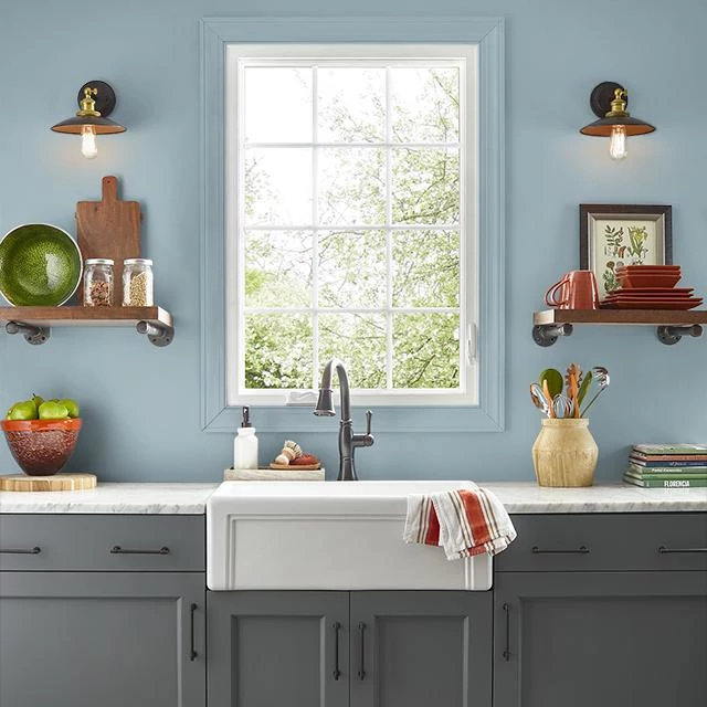 Kitchen painted in ENDLESS RAIN