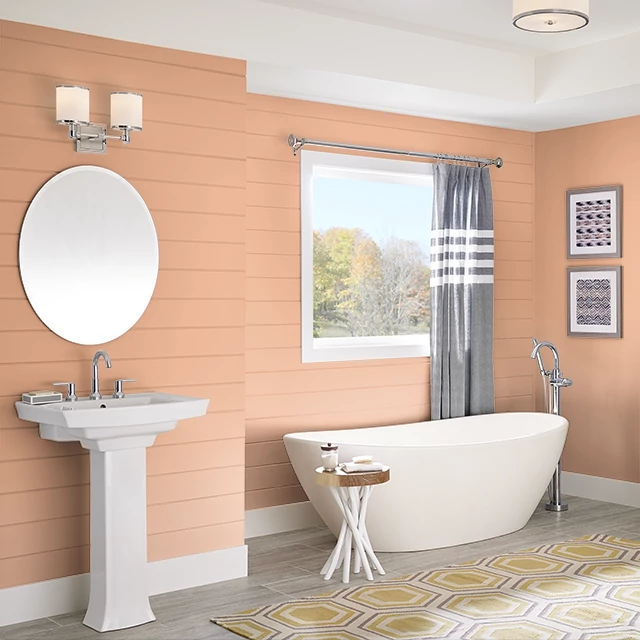 Bathroom painted in ORANGE CRUSH