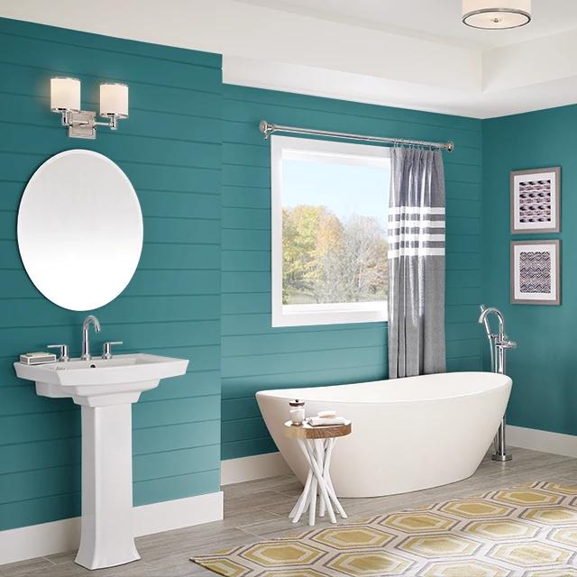 Bathroom painted in TEAL TREAT