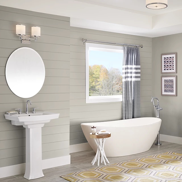 Bathroom painted in DRIFTWOOD GRAY
