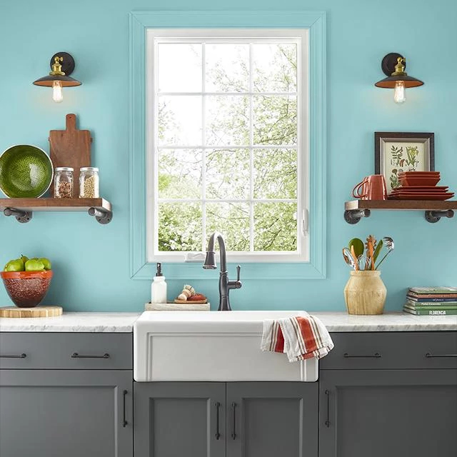 Kitchen painted in GLACIAL WATERS
