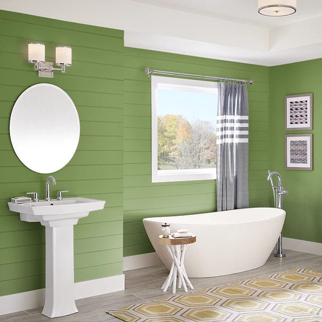 Bathroom painted in EMERALD SHIMMER