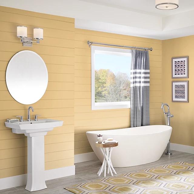 Bathroom painted in HONEY BEE
